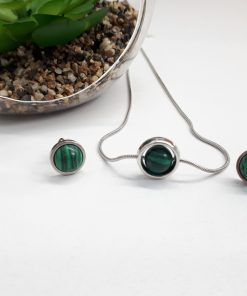 Crystal for spirit protection, Crystal for spiritual protection. Malachite Jewelry Set – Malachite studs Earring and Necklace
