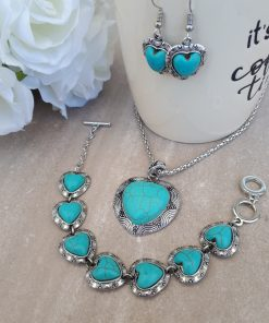 Heart shape Turquoise Jewelry Set- Turquoise Pendant Dangle Earrings -Turquoise Heart Necklace gift For Women