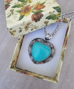 Heart shape Turquoise pendant necklace Set- Turquoise pendant -Turquoise Heart pendant For Women