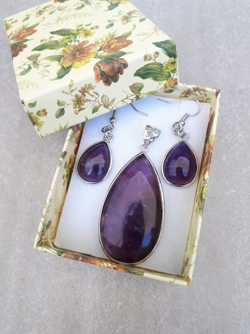 Amethyst Jewelry Set – Amethyst Pendant And Dangle Earrings. Crown chakra crystals, Crown chakra crystal grid