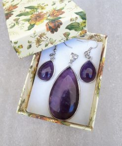 Amethyst Jewelry Set for women – Amethyst Pendant And Dangle Earrings