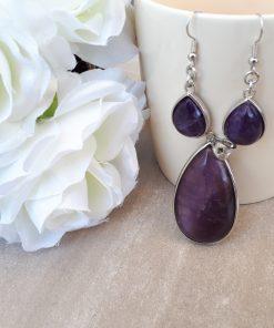 Amethyst Jewelry Set for women – Amethyst Pendant And Dangle Earrings