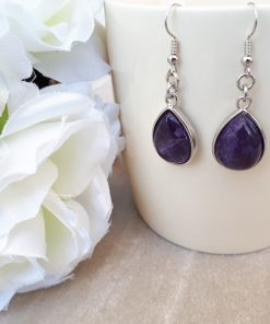 Amethyst Jewelry Set – Amethyst Dangle Earrings. Crown chakra crystals, Crown chakra crystal grid