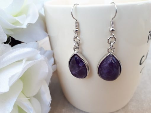 Amethyst Jewelry Set – Amethyst Dangle Earrings. Crown chakra crystals, Crown chakra crystal grid
