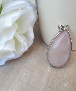 Rose quartz Jewelry Pendant for woman – Rose quartz Pendant Dangle Earrings set