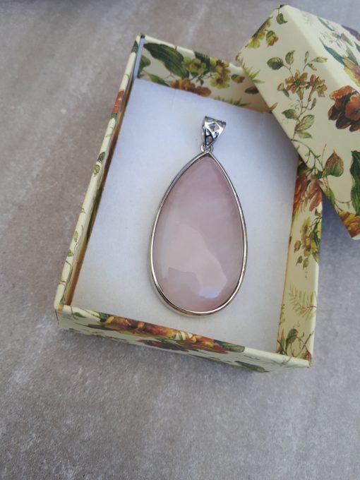 Rose quartz Jewelry Pendant for woman – Rose quartz silver Pendant set