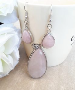 Rose quartz Jewelry Set – Rose quartz Pendant Dangle Earrings set