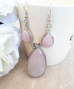 Rose quartz Jewelry Set – Rose quartz Pendant Dangle Earrings set