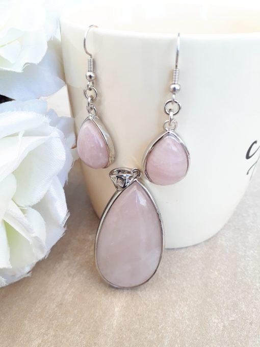 Rose quartz Jewelry Set – Rose quartz Pendant Dangle Earrings set. crystal for luck in love, crystal for manifesting love