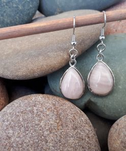 Rose quartz Jewelry Set – Rose quartz Dangle Earrings set. crystal for luck in love, crystal for manifesting love