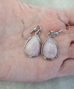 Rose quartz Jewelry Set – Rose quartz Dangle Earrings set. crystal for luck in love, crystal for manifesting love
