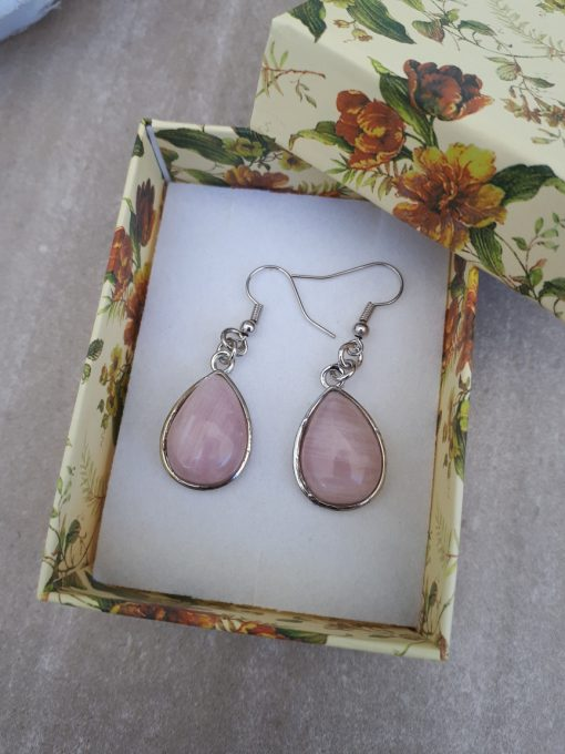 Rose quartz Pendant Dangle Earrings set- Rose quartz teardrop Earrings