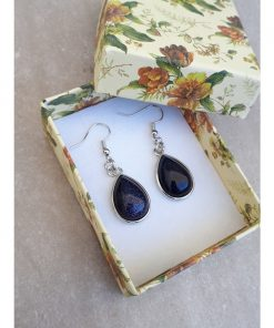 Blue Goldstone Jewelry Set -Goldstone Oval Dangle Drop Earrings. anxious calming stone, best calming stone