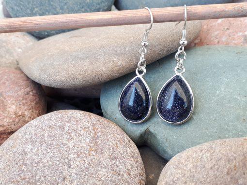 Goldstone Dangle Drop Earrings, Copper Earrings Gift for Women