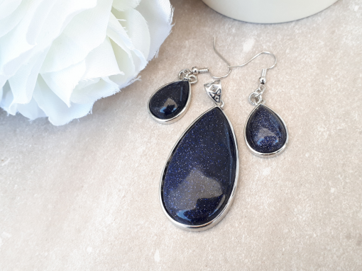 Blue Gold stone Jewelry Set -Goldstone Oval pendant and Dangle Drop Earrings