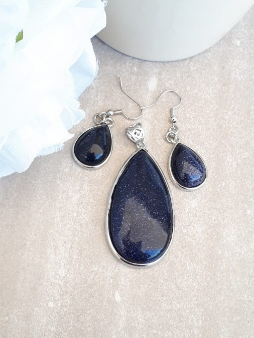 Blue Goldstone Jewelry Set -Goldstone Oval pendant and Dangle Drop Earrings