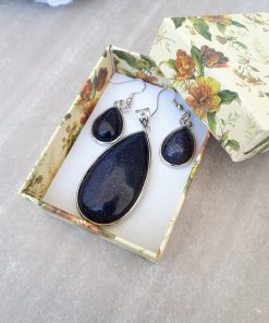 Blue Goldstone Jewelry Set -Goldstone Oval pendant and Dangle Drop Earrings