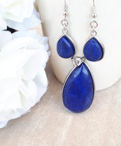 Lapis Lazuli Jewelry Set – Lapis Lazuli Pendant Dangle Earrings- Lapis Gemstone