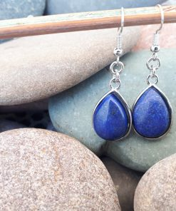 Lapis Lazuli Pendant Dangle Earrings- Lapis Gemstone Earrings – Birthstone Jewelry. Lapis teardrop Necklace gift For Woman