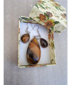 Tiger eye Jewelry Set – Tiger eye Pendant Dangle Earrings. Tiger eye teardrop Necklace For Woman. Crystal protection charm, Crystal protection for driving