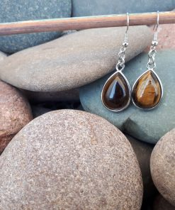 Tiger eye Jewelry Set – Tiger eye Dangle Earrings. Tiger eye teardrop For Woman. Crystal protection charm, Crystal protection for driving