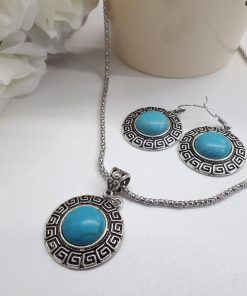 anxiety symbol necklace - anti anxiety stone necklace. Turquoise jewelry set – Turquoise stone Jewelry set