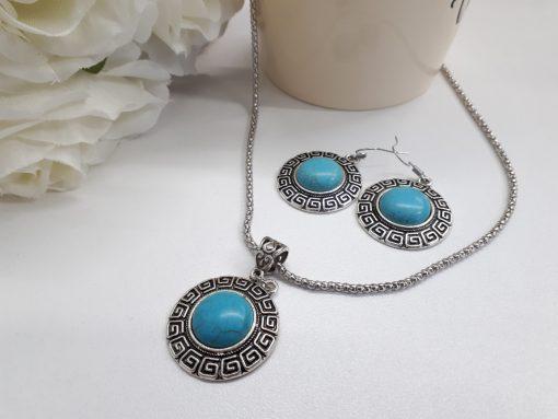 anxiety symbol necklace - anti anxiety stone necklace. Turquoise jewelry set – Turquoise stone Jewelry set