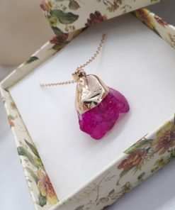 Self love stone necklace - pink love stone necklace. Pink Agate Pendant - Raw Pink Agate necklace.