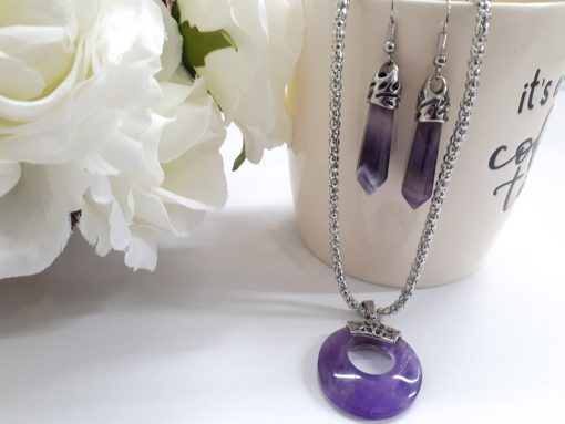 amethyst drop earrings and necklace set - amethyst necklace and earring set silver. amethyst necklace and earring set