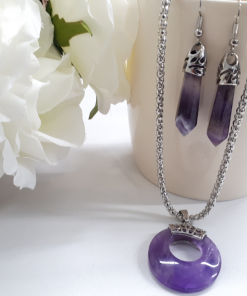 Amethyst earrings and necklace set. Crown chakra stones and crystals - crystals for grounding Crown chakra