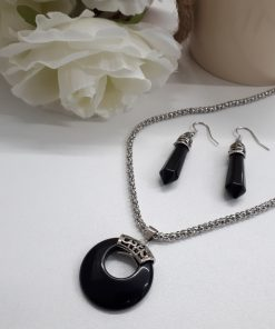 protective stone jewelry,protective stones for Gemini,protective stones from evil - Black Tourmaline jewelry sets - Pendant and earrings