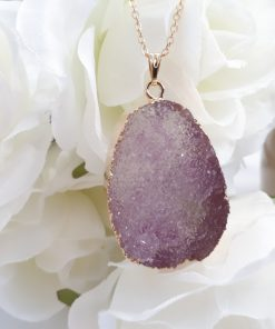 Amethyst necklace Pendant for women. purple Amethyst Druzy Reiki yoga, chakra healing Jewelry. Natural Crystal Healing Necklace