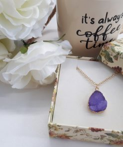 Purple Geode Necklace Druzy Pendant Agate Gemstone Boho Jewelry for healing. Purple Agate Druzy Pendant – Natural Crystal Necklace