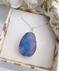 Blue Agate Druzy Pendant for healing – Natural Crystal Necklace – Sparkling Blue Druzy Necklace