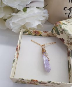 Natural Healing crystal necklace for throat chakra - Unique Crystal Pendant. purple Agate Necklace for adults. Wrapped Crystal Pendant