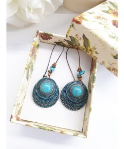 Bronze Turquoise Earrings – Turquoise Circle Earrings – Turquoise and Bronze Earrings. Turquoise Circle Earrings, Turquoise Dangle Earrings