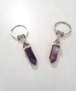 Amethyst Key chain- Raw Crystal Gemstone Key Ring Charm- Natural Stone Amethyst Key Chains – zodiac key chain,crystal key chain