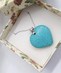 Protection crystal necklace pendant, protection necklace catholic. Turquoise Heart Necklace, Turquoise Heart Pendant
