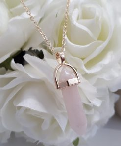 Rose Quartz Point Pendant - Crystal Point Charm - Healing Crystal Necklace - Rose Quartz Jewelry for Women