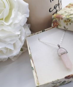 gifts for healing crystal lovers - gifts for crystal lovers. Rose Quartz Necklace -Rose quartz necklace point pendant