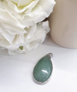 Green Fluorite Jewelry Set – Fluorite Pendant. Fluorite teardrop Necklace For Woman