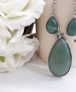 Green Fluorite Jewelry Set – Fluorite Pendant Dangle Earrings. Fluorite teardrop Necklace For Woman