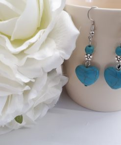 Protection crystal earrings, Turquoise Heart earrings, Turquoise Heart earrings set