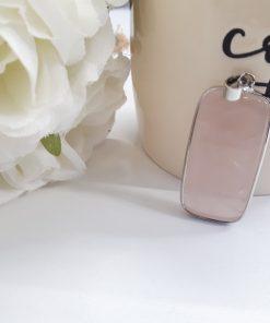 Rose Quartz Plated Pendant – Silver Pendant Rectangular – Faceted Rose Quartz – Rose Quartz Necklace for woman