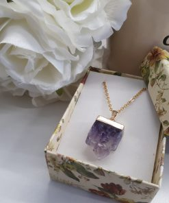 Druzy Square Amethyst Pendant – Rectangle Slice Necklace Square Amethyst – Druzy Amethyst Pendant