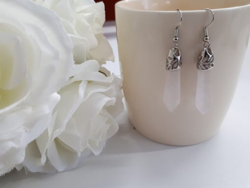 Rose quartz earrings jewelry set – Rose quartz point silver jewelry. jewelry for spiritual healing. Taurus crystal for love
