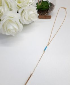 Mother protection necklace, necklace of protection. Gold And Turquoise Beads Y necklace – Layering Gold Necklace