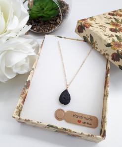 Fertility stone necklace, fertility stone to buy. Black Lava Stone Necklace – Lava Stone Pendant, Essential Oil Diffuser Jewelry
