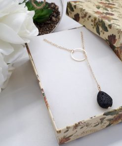 Best anxiety necklace, best fertility stone. Black Lava Stone Necklace – Lava Stone Pendant, Essential Oil Diffuser Jewelry