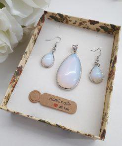 Opal Pendant and Earrings Jewelry Set – Opal Jewelry gift, Opal Teardrop, Opal Jewelry Set For Woman